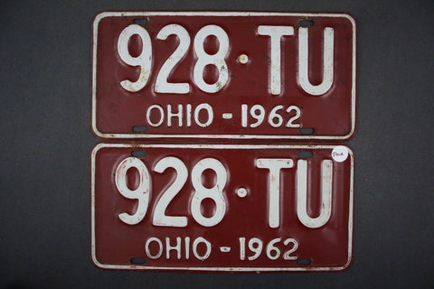 1962 Vintage Original OHIO License Plate 928-TU PAIR