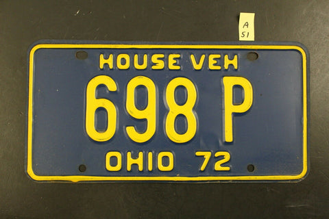 Vintage 1972 OHIO House Vehicle License Plate 698-P (A51