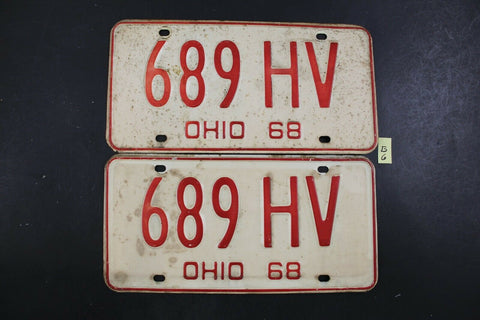 Vintage 1968 OHIO License Plate 689-HV PAIR (G6