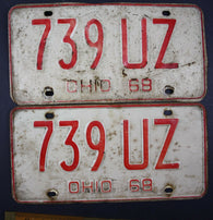 1968 Vintage Original Ohio License Plate 739-UZ PAIR