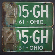 1961 Vintage Original Ohio License Plate 205-GH PAIR