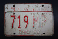 1968 Vintage Original OHIO License Plate 7189-MP PAIR
