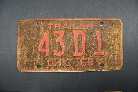 Vintage OHIO 1968 TRAILER  LICENSE PLATE 43 D1
