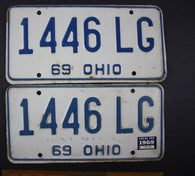 1969 Vintage Original Ohio License Plate 1446-LC PAIR