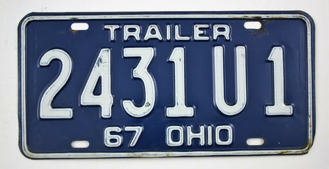 Vintage 1967 Original OHIO Trailer License Plate 2431U1