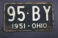 1951 Vintage Original Ohio License Plate  95-BY