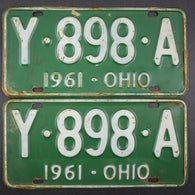 1961 Vintage Original Ohio License Plate Y-898-A PAIR