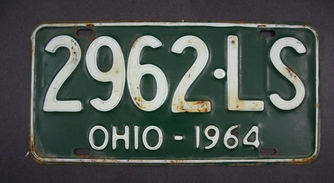 1964 Original Vintage Ohio License Plate 2962-LS