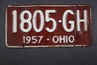 1957 Vintage Original Ohio License Plate  1805-GH