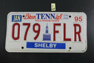 1995 1996 SHELBY TENNESSEE License Plate 079-FLR BICENTENNIAL C68