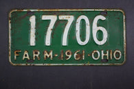 1961 Vintage Original Ohio License Plate 17706 FARM