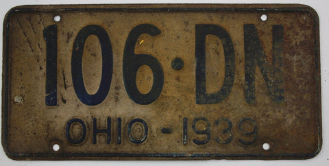 1939 Vintage Original OHIO License Plate Tag 106-DN