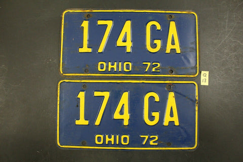 Vintage 1972 OHIO License Plates 174-GA PAIR (Q-13