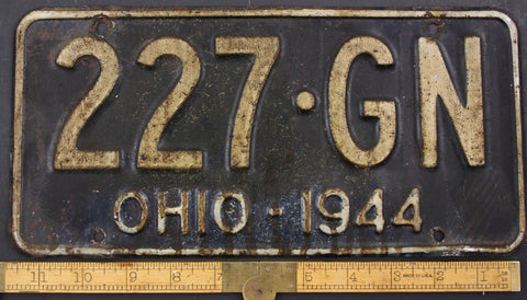 1944 Vintage Original OHIO License Plate Tag  227-GN