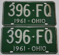 1961 Vintage Original Ohio License Plates 396-FQ PAIR