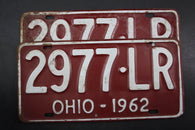 1962 Vintage Original OHIO License Plate 2977-LR PAIR