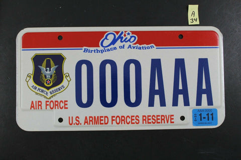 OHIO SAMPLE License Plate 000AAA 2011 Sticker Air Force Reserve Armed Forces A34