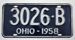 Vintage 1958 Original OHIO License Plate 3026-B