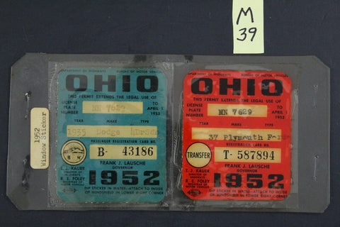 Vintage 1952 OHIO License Plate Window Stickers (M39