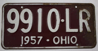 1957 Vintage Original OHIO License Plate Tag 9910-LR