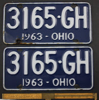 1963 Vintage Original   OHIO License Plate Tag  3165-GH  PAIR