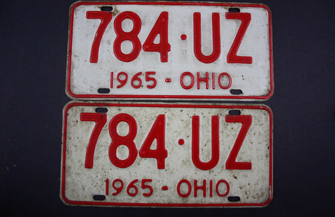 1965 Vintage Original Ohio License Plate 784-UZ PAIR