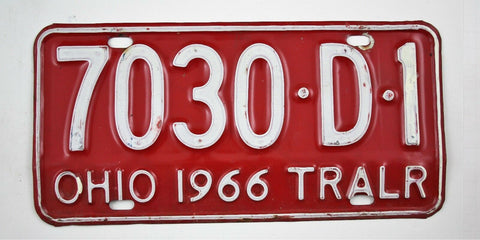 Vintage 1966 Original OHIO Trailer License Plate 7030-D-1