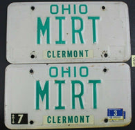 1990 Original Vintage Ohio License Plate MIRT PAIR CLERMONT COUNTY S8