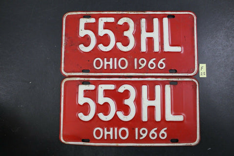 Vintage 1966 OHIO License Plate 553-HL PAIR (F25