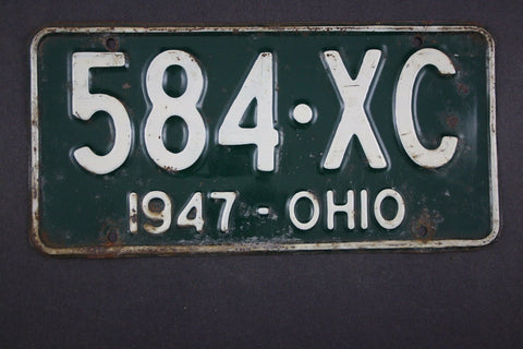 1947 Vintage Original Ohio License Plate 584-XC
