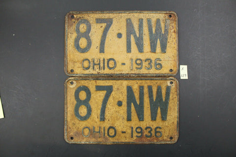 Vintage 1936 - OHIO - License Plate - 87-NW - Matching Pair (X-129
