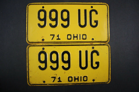 1971 Vintage Original Ohio License Plate 999-UG PAIR