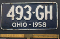 1958 Vintage Original OHIO License Plate Tag 493-GH
