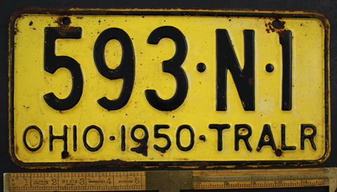 1950 Vintage Original OHIO License Plate 593-N-1  TRAILER