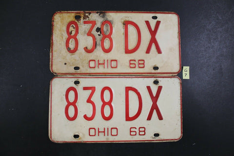 Vintage 1968 OHIO License Plate 838-DX PAIR (G7