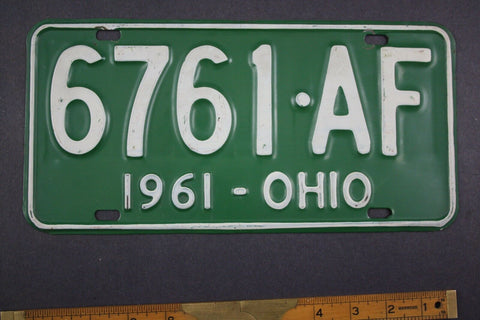 1961 Vintage Original Ohio License Plate 6761-AF