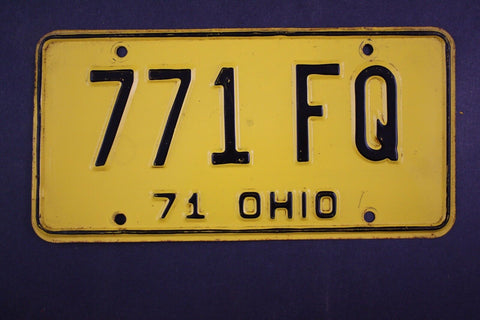 1971 Vintage Original Ohio License Plate 771-FQ