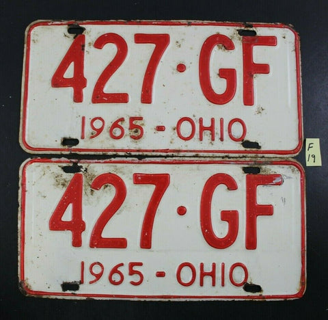 Vintage 1965 OHIO License Plate (Shelby Cammer) 427-GF PAIR (F19