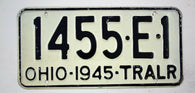 Vintage 1945 Original OHIO Trailer License Plate 1455-E-1