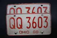 1968 Original Vintage Ohio License Plate Pair QQ-3603