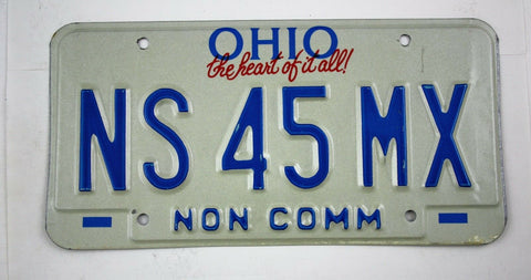 Vintage 1992 Original OHIO Non Commercial Truck License Plate NS 45MX
