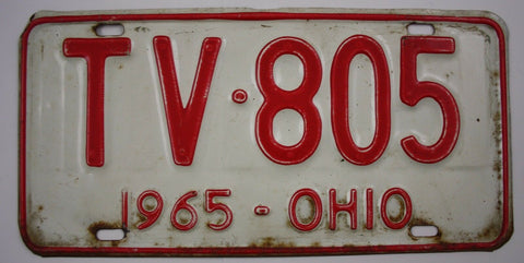 1965 Vintage Original OHIO License Plate TV-805