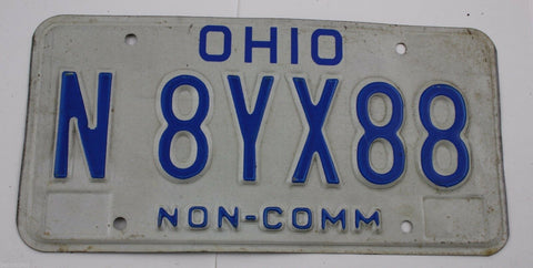 1980 Base Vintage Original Ohio License Plate Tag N8YX88 Non-Commercial