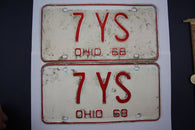1968  Vintage Original Ohio License Plate PAIR Tags 7-YS