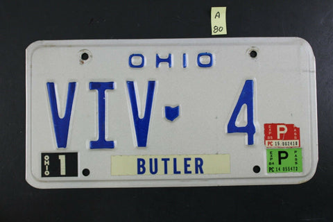 Vintage 1980 BUTLER OHIO License Plate VIV-4 1984 1985 Sticker (A80