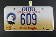 1998 OHIO License Plate 609 Embossed Bald Eagle N-85