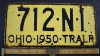1950 Vintage Original OHIO License Plate 712-N-1  TRAILER
