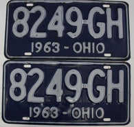 1963 Vintage Original  Ohio License Plate Tag  8249-GH  PAIR
