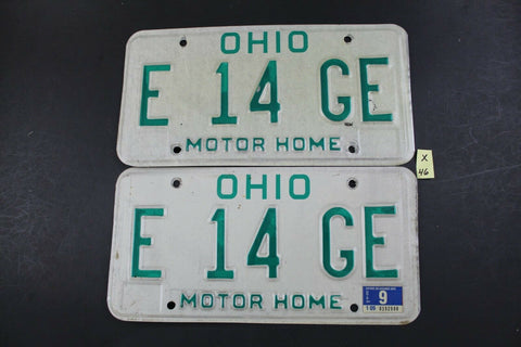 Vintage 1991 OHIO MOTOR HOME License Plate E-14-GE Pair (X46)