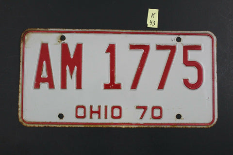 Vintage 1970 OHIO License Plate AM-1775 K43